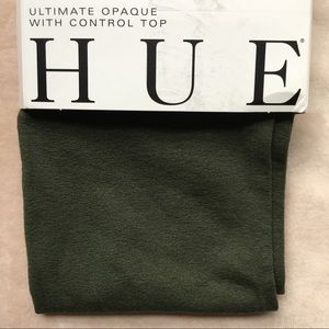 NWT HUE brand Army Green Opaque Tights-size 2
